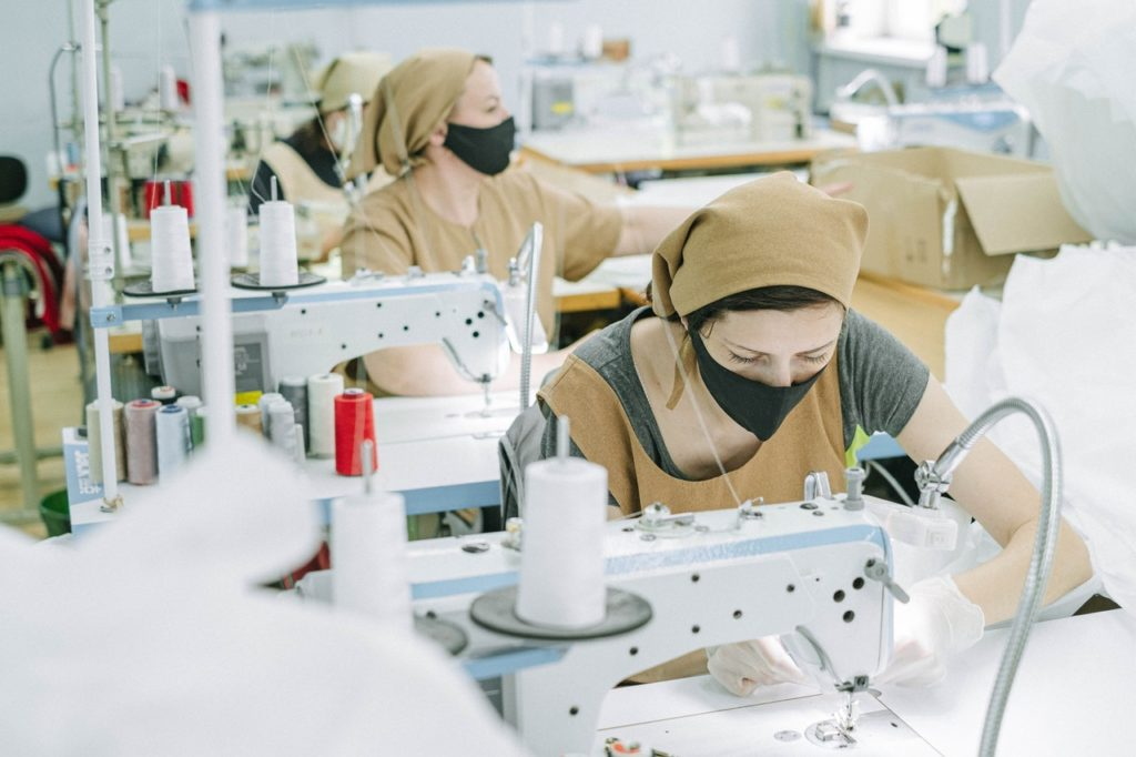 workers wearing facemask