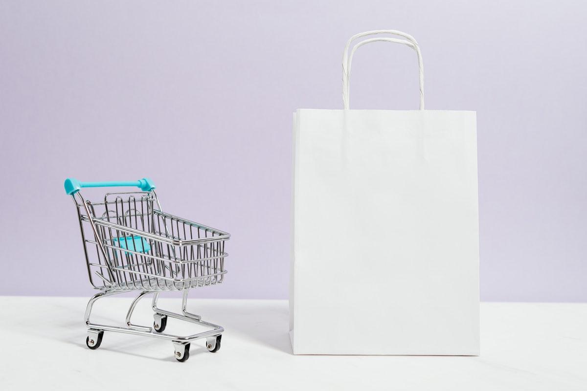 shopping cart and bag
